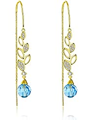 YELLOW CHIMES Swarovski Elements 22K Gold Plated Blue Sui Dhaga Earrings For Women