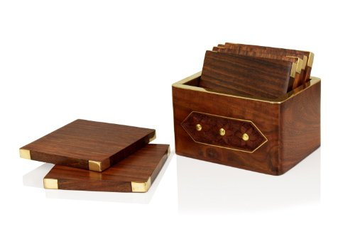 Fathers Day Gifts Fine Polished Wooden Square Coaster For Drink Set Of 6 With Brass Angles And Holder Bar Dining...