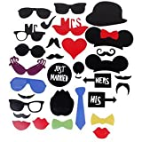 Banggood 31 Photo Booth Props Lips Moustache JUST MARRIED On A Stick Wedding Party Favors
