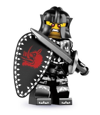 LEGO 8831 Series 7 Evil Black Knight With Shield And Sword Minifig Minifigure