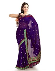 Designersareez Women Chiffon Embroidered Purple Saree With Unstitched Blouse(1159)