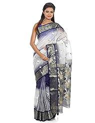 B3Fashion Traditional Handloom Navy Blue & White Dhakai Banarasi Silk Saree With Beautiful Zari And Navy Blue...