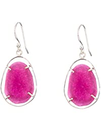 92.5 Sterling Silver Earring Witn Indian Ruby Stone By Silver Planets For Female & Girls Ear 1311