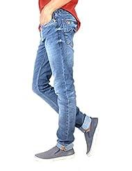 Ffreak Jeans Faded Slim Fit Blue Cotton Jeans For Men