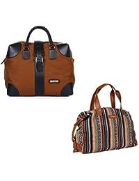 The Maker Combo Of Men's Tan Duffle Bag With Women's Multicoloured Kilburn Duffle Bag
