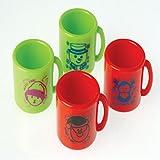"Lot Of 12 Assorted Color & Christmas Design Mini Plastic Mugs - 1.25"""