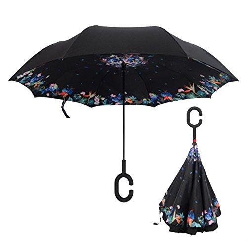 RAIN QUEEN Parapluie Canne Ouverture Inversé Double Toile Imprimé +C Poignée Grand Taille Dimension 110cm pour 2 personnes (Fleur&Oiseau)