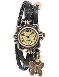 Felizer Fancy Hanging Butterfly Bracelet Vintage Multi Strap Latkan New Look Watch For Women & Girls (Black)