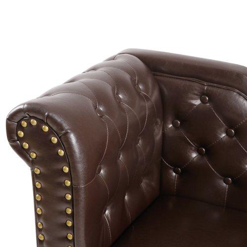 Miadomodo Chesterfield im antiken Design, Sofa mit Farbwahl, Rautenmuster und Echtholz-Füßen, Braun -