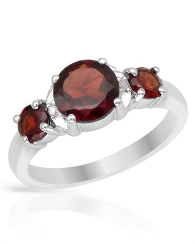 P D Diamonds Red Color Garnet And Diamond Ring For Womens In Silver 925
