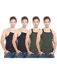 Bodysense Black & Green Men's Gym Vest ( Pack Of 4 )