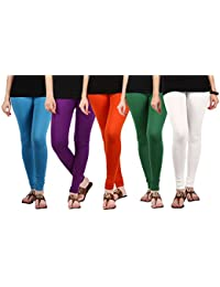 Jbk Arts Women Cotton Lycra Premium Leggings ( Pack Of 5 ) ( L5-W-PR-O-G-SB, Multi-Coloured, )