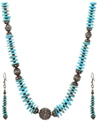 Anmol Jewellers Sterling Silver Turquoise Necklace Set(2 Earrings And 1 Necklace) For Women