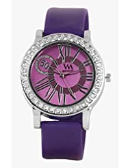 Watch Me Purple Leather Analogue Watch For Women WMAL-102-PR