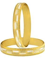 The Jewelbox Wedding Designer 22k Gold Plated Rhodium Metal Chuda Kada Bangle Set Of 2 For Women - B01IQX0W2I