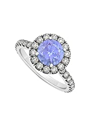 Halo Round Cubic Zirconia And Tanzanite Engagement Ring In 925 Sterling Silver 1.75 CT TGW