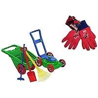 Kids Or Toddler Pretend Play Toys Lawn Mower,Garden Cart/Wheelbarrow,Hoe,Rack And Shovel Outdoor/Indoor Plastic... - B019BWBO8E