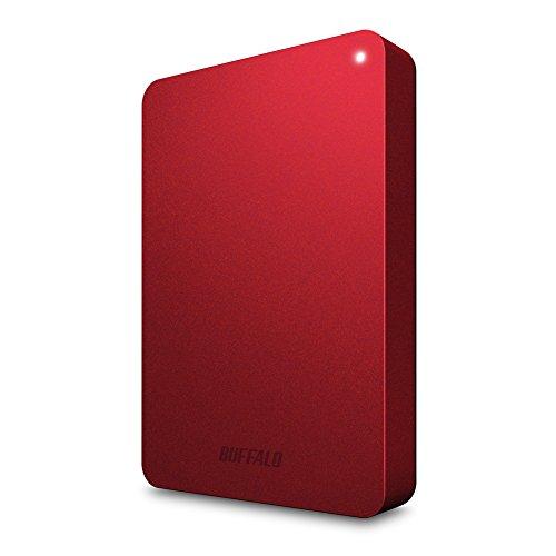 BUFFALO USB3.0接続 PC対応・TV録画対応 耐衝撃 フラットデザイン おでかけロック ポータブルHDD 1TB レッド HD-PNF1.0U3-BR/N [フラストレーションフリーパッケージ(FFP)]