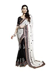Art Crepe Saree In White Colour For Party Wear