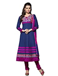 Women's Blue & Pink Cotton Embroidered Semi Stitched Suit