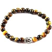 Eshoppee Natural Stone Buddha Bracelet With Silver Buddha Bead For Men And Women - B01LCJZ700