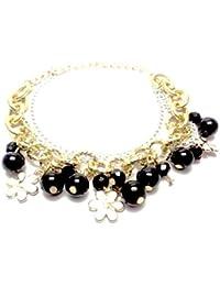 Trendz Black Stone Metal Bracelet For Women - B01EOE6ZCE