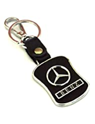 Glow Time Mercedes Benz Leather Keychain - (8cmL X 6cmB, Black)