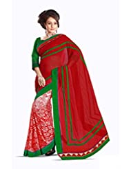AG Lifestyle Red Faux Chiffon Saree With Unstitched Blouse 2DVY2010B