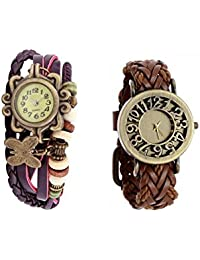 COSMIC COMBO ANALOG BUTTERFLY PENDENT BRACELET WATCH WITH LEATHER STRAP ANALOG WATCH FOR WOMEN
