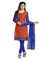 Inddus Women Cognac & Blue Cotton Unstitched Dress Material