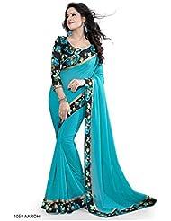 Shree Women's Faux Georgette Saree (blue-0001_Blue)