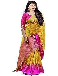 Texstile Women'S Banglori Silk Saree With Blouse Piece (Bl_Yellow Pink Crekal_Bollywood_Yellow)