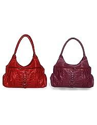 Arc HnH Women Combo Handbag Magnificent - Red+Pink