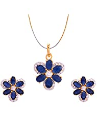 Jewelshub Gold & Silver Gold Plated Pendant Set For Women - B00XCY1MNK