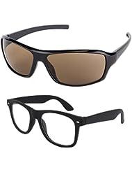 New Stylish UV Protected Combo Pack Of Sunglasses For Women / Girl ( BrownWrap-ClearBlackWayfarer ) ( CM-SUN-057 )