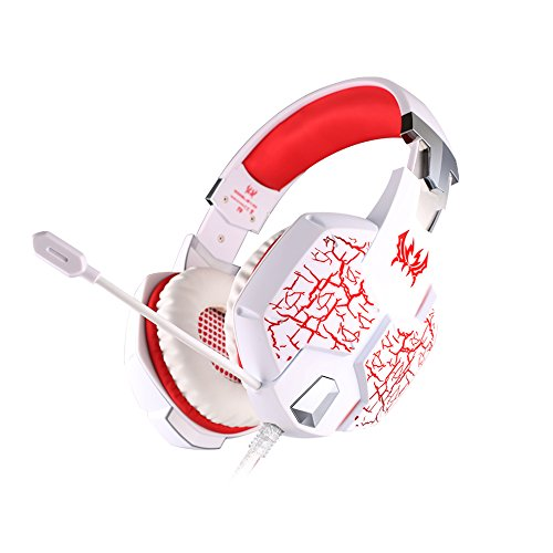 GuDenns Vibration Function Professional Gaming Headphone Games Headset With Mic Stereo Bass Breathing LED Light...