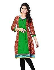 Aria Party Wear 3/4 Sleeve Printed Multicolor Cotton Women's Kurti - B00XW1NQU0