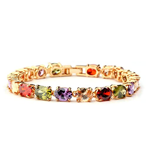 Women Gold Plated Charm Bracelet Rainbow Cubic Zirconia Round 19CM Bangle Bracelet for Women by Aienid