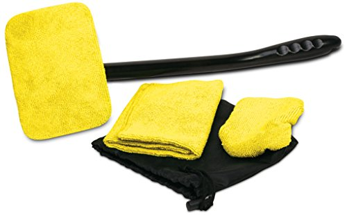 Auto Glass Cleaner Wiper Keeps Cars Vehicles Interior Exterior Windshields Windows Clean – Includes Long Handle Cleaner, Wipes, Cleaning Cloth, and Storage Pouch – Use Wet or Dry by Ideas In Life