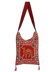 Rajrang Stylish Cotton Embroidered Camel Maroon Sling Bag - B015PUREZI