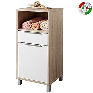 Mobile base portabiancheria in legno da arredo bagno 65x40x30 cm ...