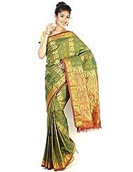 Pure Silk Kanjeevaram Hand Women Saree-Green-RRAN40-V...