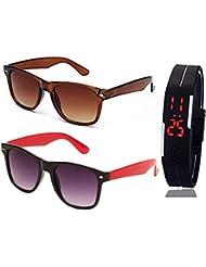 BROWN WAYFARER SUNGLASSES AND WAYFARER BLACK RED SUNGLASSES WITH TPU BAND RED LED DIGITAL BLACK DIAL UNISEX WATCH