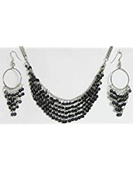 Black Sequined Jhalar Necklace With Earrings - Acrylic And Metal