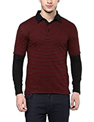 Hypernation Red And Black Stripe Cotton Polo T-shirt For Men