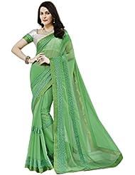 Jonikon Women's Chiffon Saree With Blouse Piece (Ran_10010_Green)