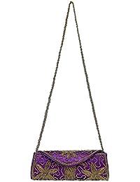 Handmade Purses Big Indian Ethnic Multi Coloured Patchwork Clutch Basket (PURPLE)