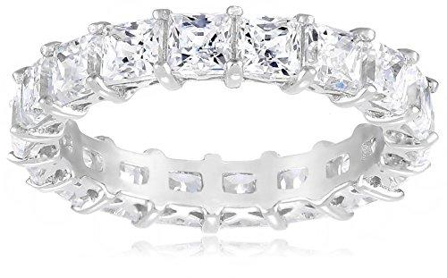 Platinum Plated Sterling Silver Swarovski Zirconia Princess Cut Ring, Size 7