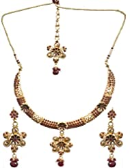 Exotic India Polki Floral Necklace Set With Mang Tika - Copper Alloy