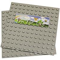 LEGO® DUPLO® (big Dot) Compatible Mega Bloks Compatible Brick Building Base 7.5'' X 7.5'' (2 Pcs) Gray Baseplate...